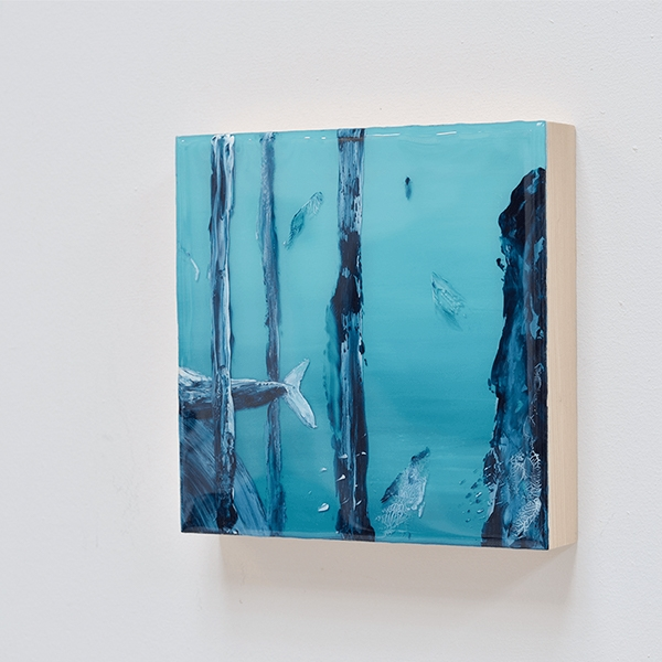 I Sea Now In Between – resin on wood panel