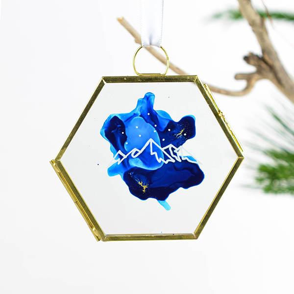 Glas ornament Hexagon Berg