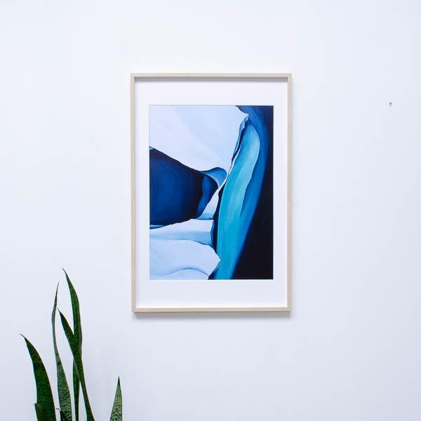 blauwe kunst poster