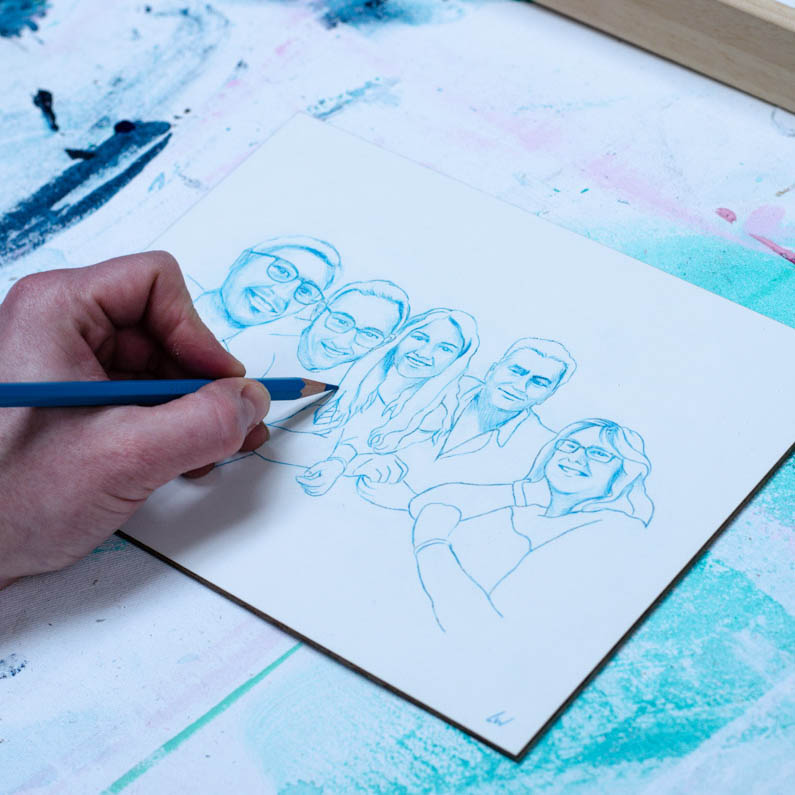 Gepersonaliseerde kunst: Portret in Lijn – Potlood op Clayboard