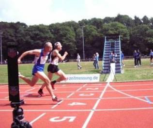 Zieleinlauf Helmut Meier und Karl Dorschner 100m M55