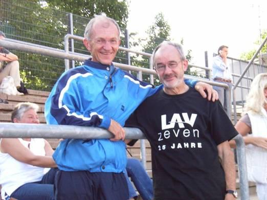 Helmut Meier und sein Altersklassengegner nun aus vielen Meisterschaftsrennen Karl Dorschner TSV Dörfles-Esbach