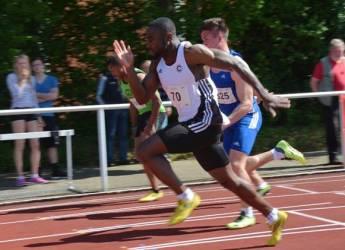 George Petzold (Nr. 70, SCC Berlin) erlangte im 100m-Wettbewerb der Männer in einer Zeit von 10,94 sec den ersten Platz.