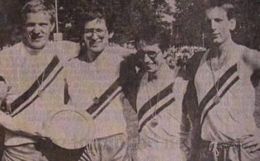 Dobrock Bergfest 1983 Sieger 4x100m Staffel v.l.n.r.: Michael Putzas, Jürgen Umann, Karl Wolf, Frans Krechting