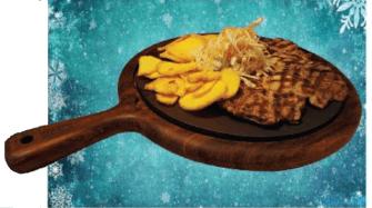 Свинска вратна пържола - сервирана върху LAVA чугунена плоча и африканско тиково дърво