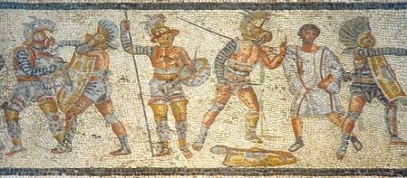 Fragmento del mosaico de Zliten, hallado cerca de Leptis Magna, en la actual Libia, y que muestra varios tipos de gladiadores en acción.