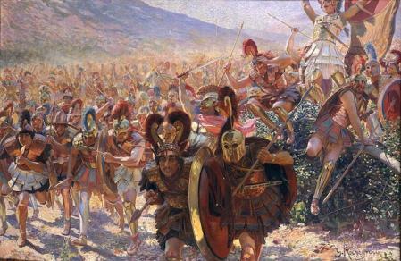 Tropas griegas en la batalla de Maratón. Cuadro de Georges Rochegrosse, 1859.