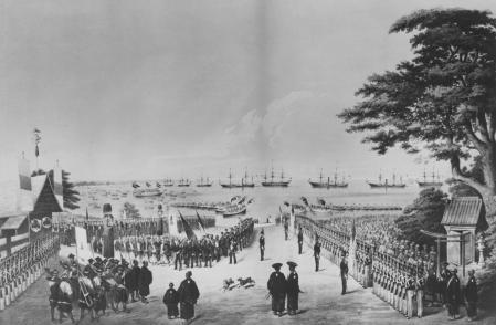 Recibimiento japonés de la expedición estadounidense, comandada por Perry, en 1854