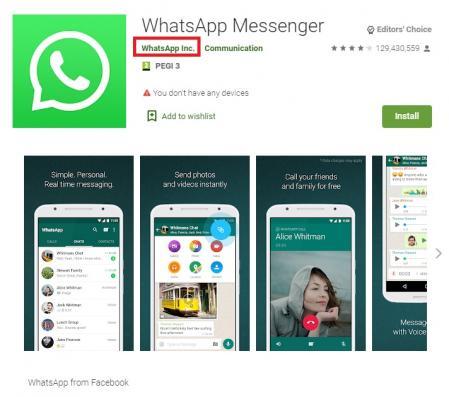 Para confirmar que es la versión oficial, la app tiene que estar desarrollada por WhatsApp Inc.