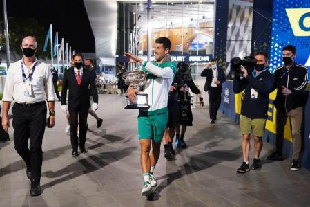 Nocak Djokovic, after his victory in Melbourne 2021