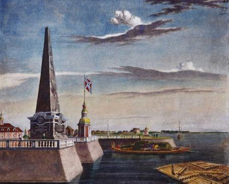 El muelle de Kronstadt a comienzos del siglo XIX.