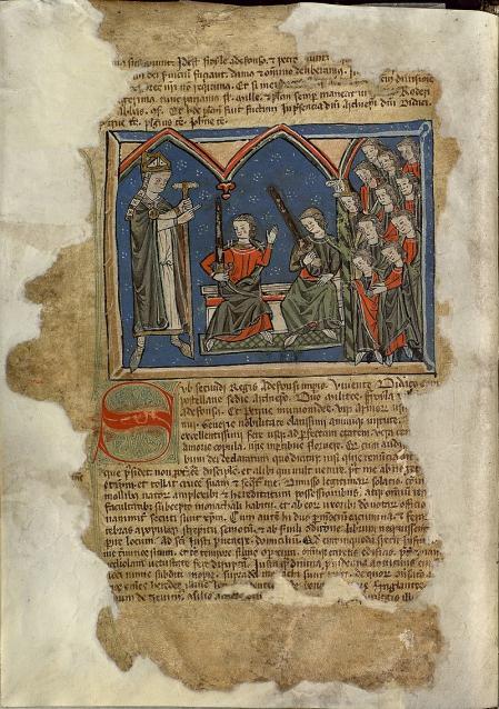 Diego Gelmirez, representado en el 'Manuscrito Tumbo de Toxosoutos' (siglo XIII).