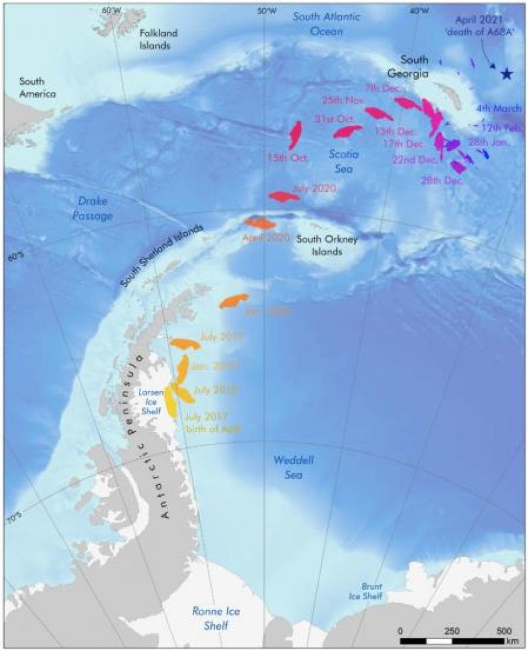 Trayectoria del iceberg A68 desde julio de 2017 hasta abril de 2021 .