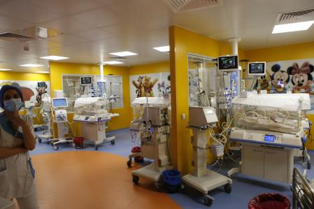 A general view of the premature infant ward where are the nine babies at the maternity ward of the private clinic of Ain Borja in Casablanca, Morocco, Wednesday, May 5, 2021. A Malian woman gave birth to nine babies after n ' to have waited only seven, announced Wednesday the Ministry of Health of Mali. . Halima Cissé, 25, gave birth by caesarean section Tuesday in Morocco after being sent there for special care, the ministry said. (AP Photo / Abdeljalil Bounhar)