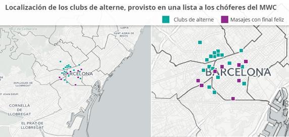 Localización de los clubs de alterne, proveídos en una lista a los chóferes del Mobile World Congress