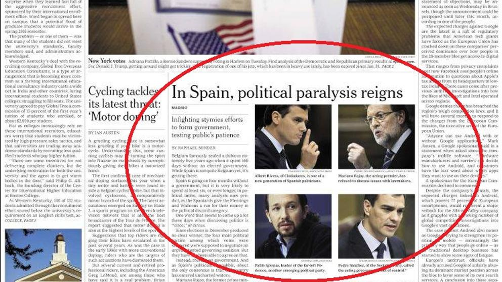 La parálisis política española, portada de 'The New York Times'