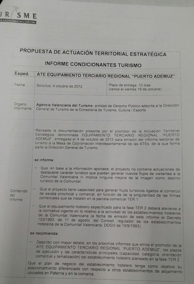 Informe desfavorable de la Agència Valenciana de Turisme al ATE de Puerto Mediterráneo desvelado por Compromís per Paterna