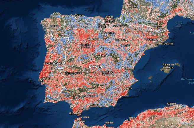 Evolución de la huella humana en España (1993-2009). En color rojo, las zonas con mayores impactos y en azul, las zonas con reducción