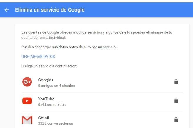 Puedes eliminar servicios determinados de Google si no quieres borrar tu cuenta entera.