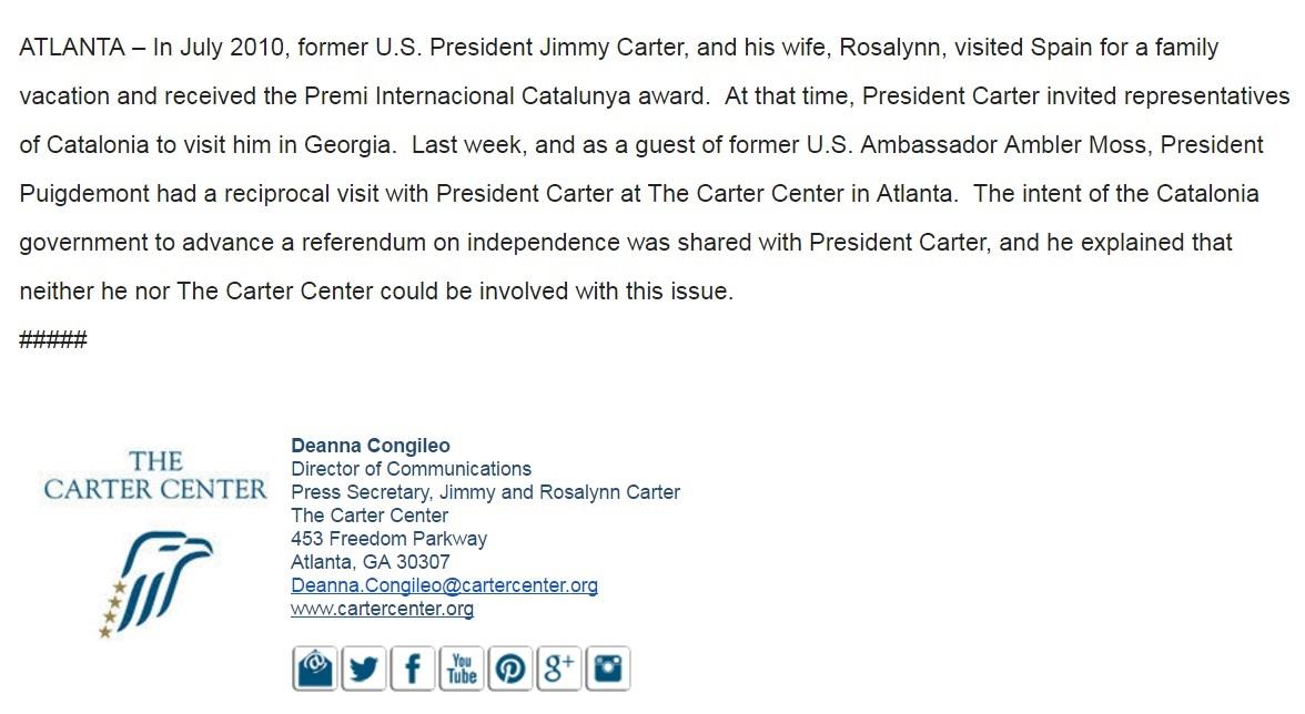 El comunicado de Carter Center sobre la reunión con Puigdemont