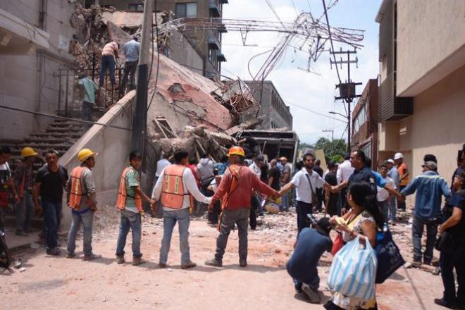 Vista general de un edificio derruido en Cuernavaca, capital del estado de Morelos