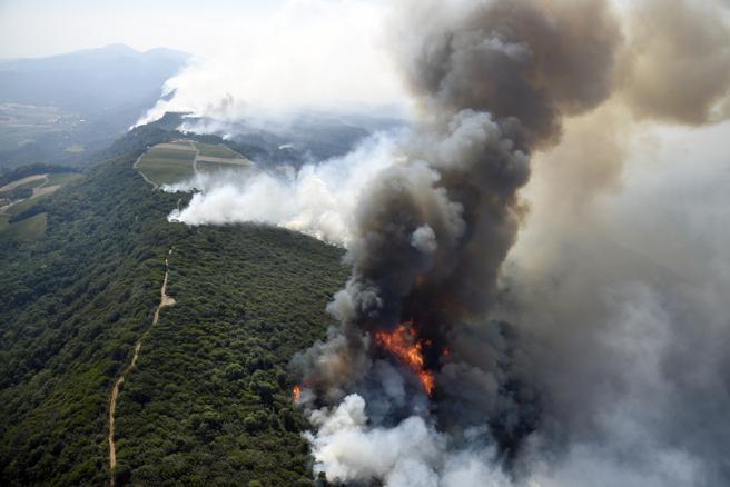 Imagen aérea de los fuegos forestales en Napa, California