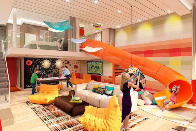 Suite Familiar en el Simphony of the Seas tiene dos niveles y está pensado para los más pequeños