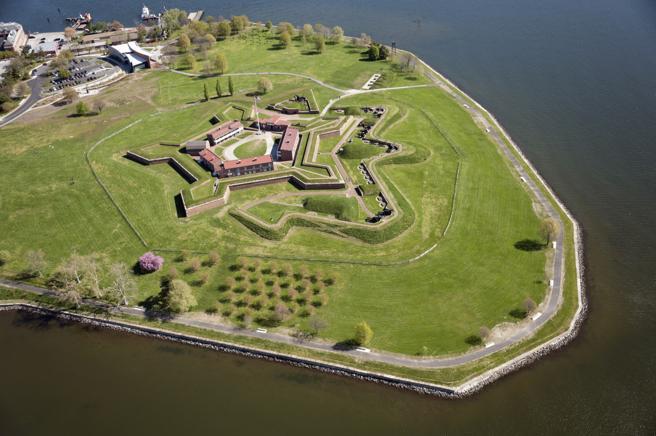 Vista aérea del monumento nacional de Fort McHenry, Baltimore