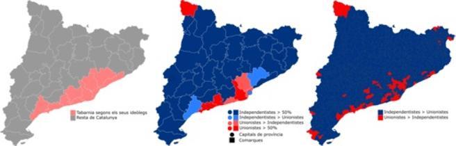 Los límites de Tabarnia, en comparación con los resultados electorales del 21-D