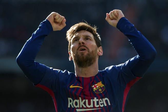 El atacante culé Leo Messi celebrando su último gol en el Santiago Bernabéu