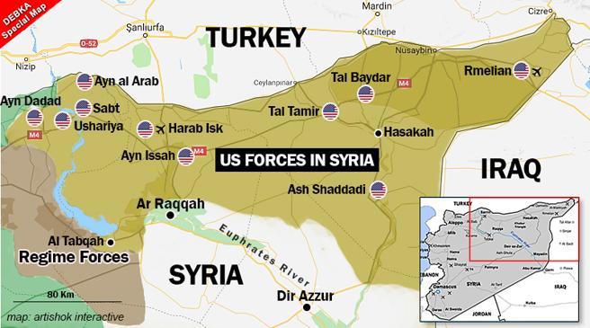 Las bases norteamericanas en Siria, según un mapa elaborado por el observatorio israelí Debka