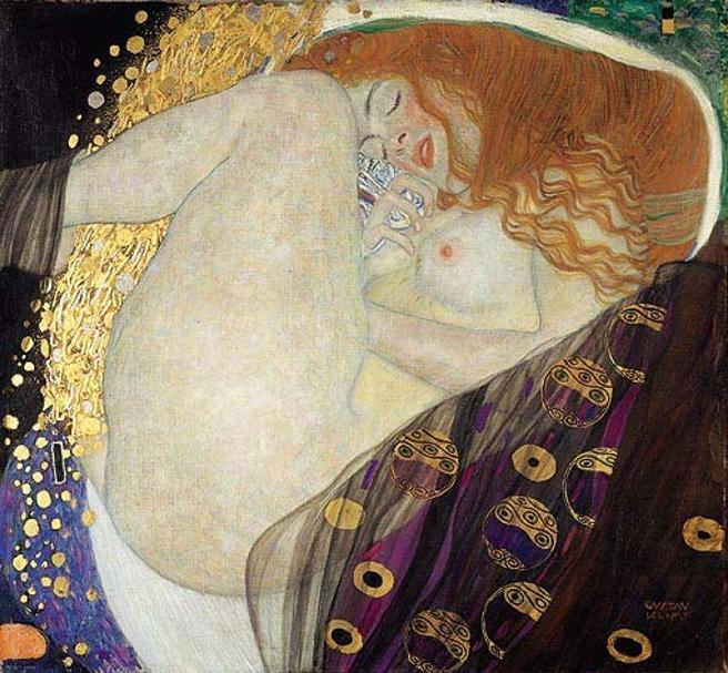 'Dánae', obra del pintor Gustav Klimt, 1907-1908. La imagen transforma el mito de la fecundación de Dánae por Júpiter en una descripción de éxtsis orgásmico