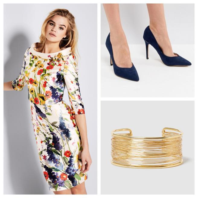 Vestido de Pronovias, zapatos de Asos y pulsera de Bimba y Lola