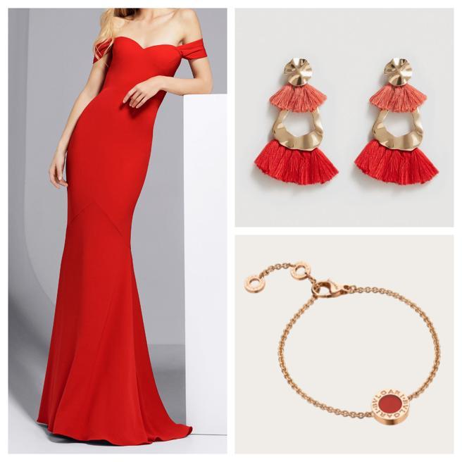Vestido de Pronovias, pendientes de Mango y pulsera de Bulgari