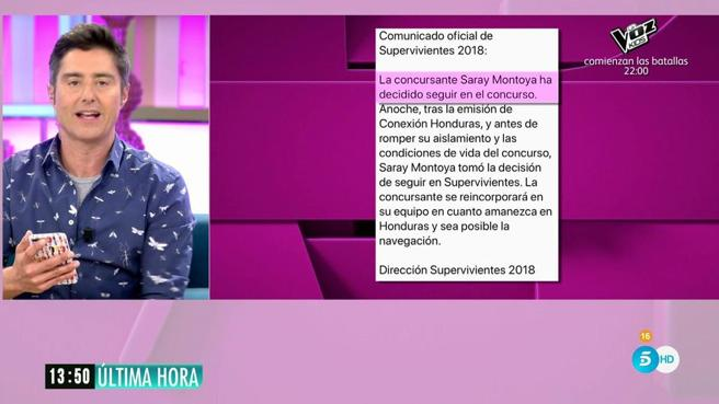 Comunicado de 'Supervivientes 2018': Saray Montoya regresa a Honduras