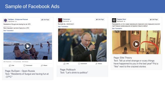 Algunos de los anuncios que compartían las páginas que han sido eliminadas de Facebook