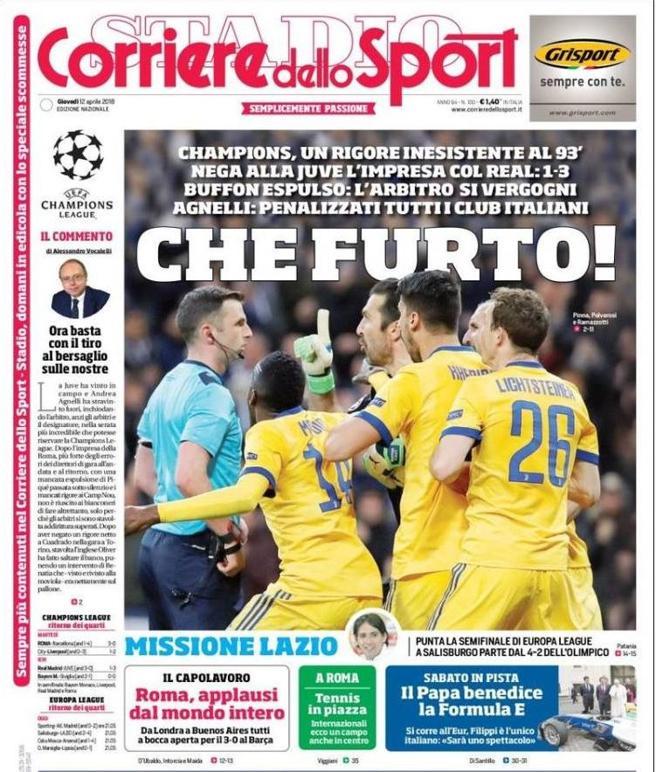 La portada del Corriere dello Sport