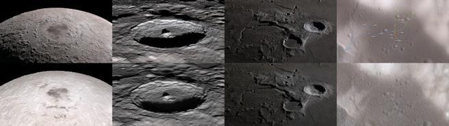 Comparaciones de ciertos fotogramas de la gira original de 2011 (abajo) y la versión de 2018 (arriba). Los datos recopilados por LRO en los años transcurridos se reflejan en la calidad mejorada de las imágenes más nuevas.