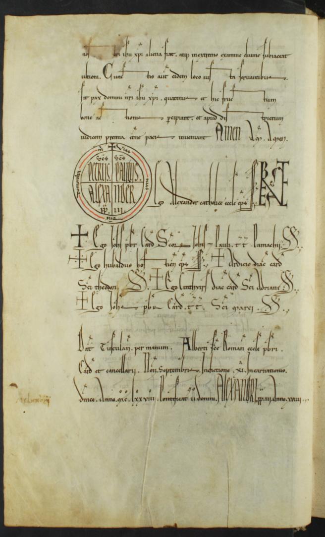 Copia figurativa de una bula del papa Alejandro III del 5 de septiembre de 1178 por la que confirmaba a la Orden del Temple todas las donaciones efectuadas por el conde de Barcelona Ramón Berenguer IV y por su hijo Alfonso II de Aragón