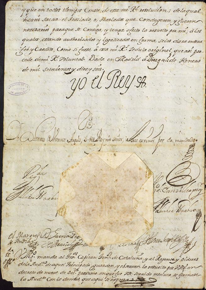 Firma de Felipe V sancionando el decreto de Nueva Planta, por el que se reorganizaba el gobierno y administración de Cataluña tras la Guerra de Sucesión