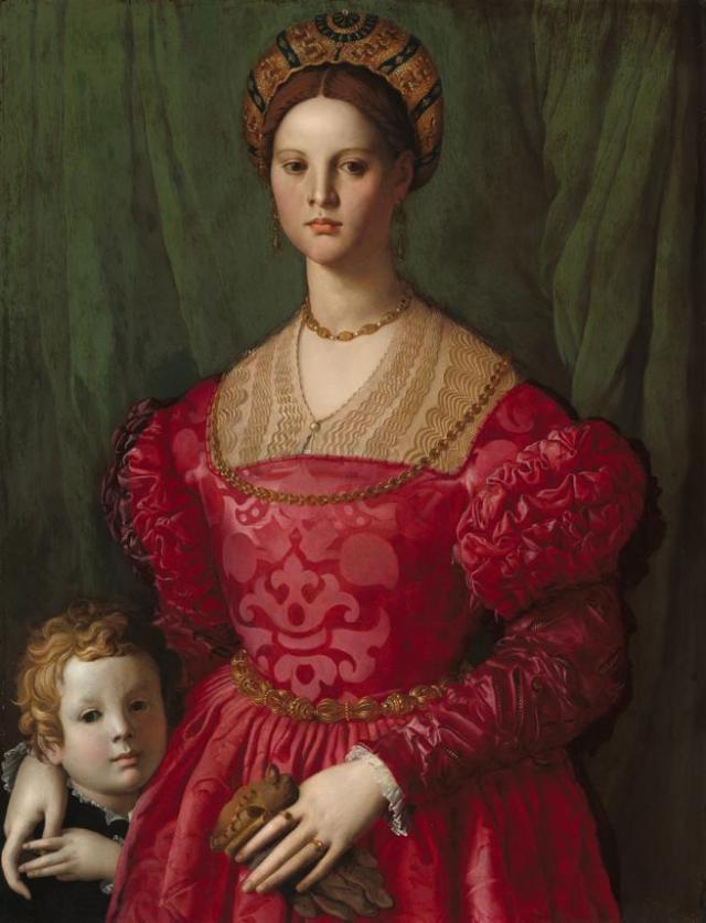 'Mujer con su hijo', pintura del siglo XVI del italiano Agnolo Bronzino en que se ve el rojo en boga en la época