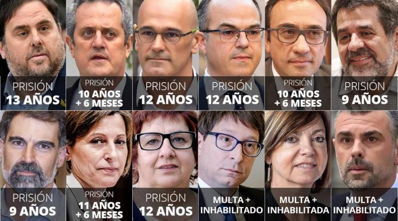 CATALUÑA. Entre 9 y 13 años de cárcel para los líderes del 'procés' por sedición y malversación