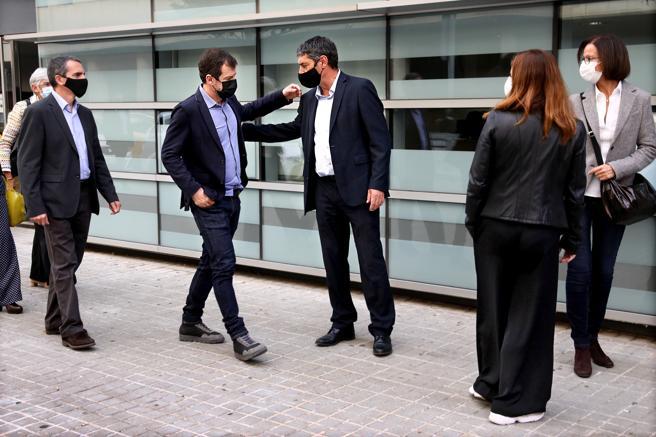 Salida del mayor de los Mossos d Esquadra Josep Lluis Trapero junto a los comisarios Ferran López y Joan Carles Molinero