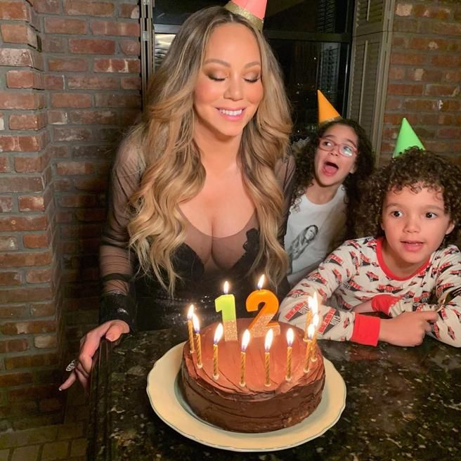Mariah Carey and their children, Monroe and Morocco
