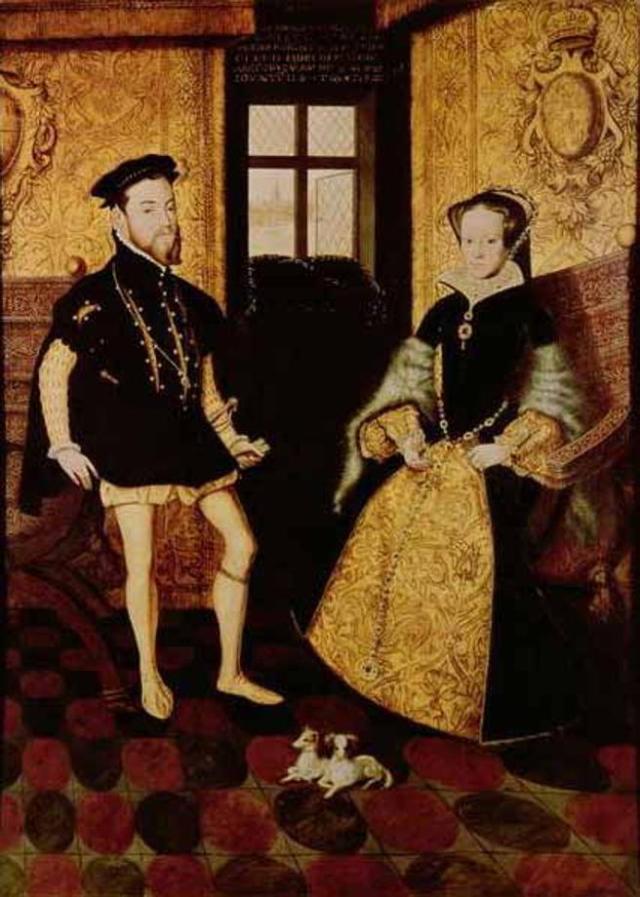 María, cuyos partidarios se enfrentaron a los de Jane Grey, y su esposo Felipe. Obra de Hans Eworth (c. 1558).