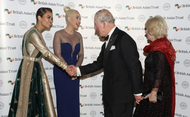 Prince Charles, Camilla of Cornwall, Katy Perry and businesswoman Natasha Poonawalla in his arrival to dinner at the Banqueting House in London.