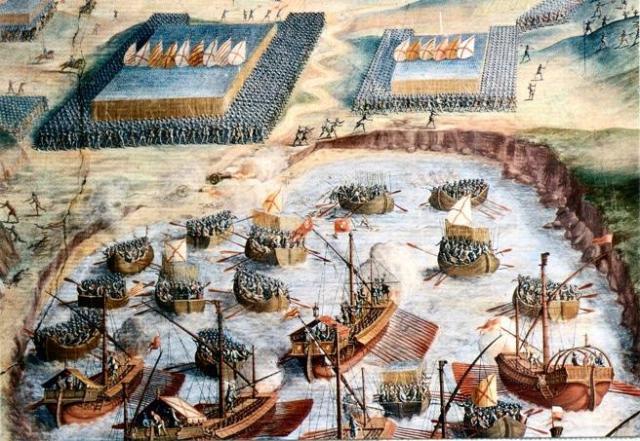Desembarco de tercios españoles en la batalla de la isla Terceira.