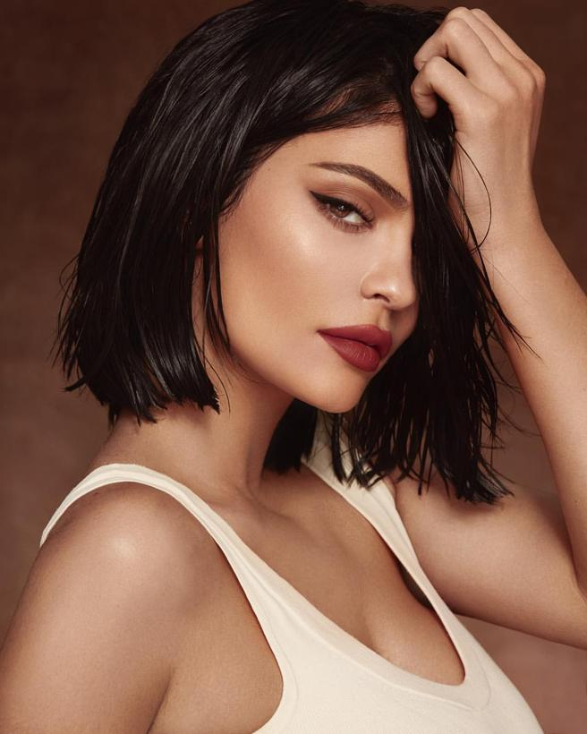 Kylie Jenner with a straight cut in black