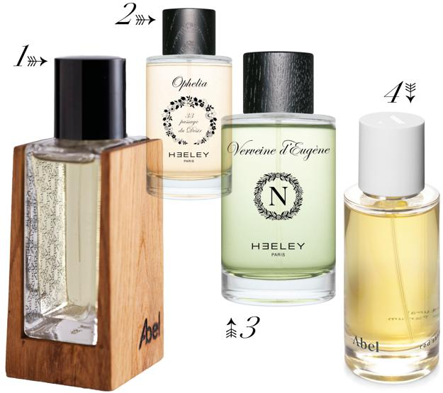 1. Abel Vintage 13, a limited edition of 2000 copies. 2 and 3. Ophelia and Verveine d ' Eugene, two special editions of Heeley. 4. Red Santal, also of Abel