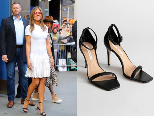 Jennifer Aniston with a pleated dress with white thong sandals. To the right, footwear of the new collection from & Other Stories (89 euros)